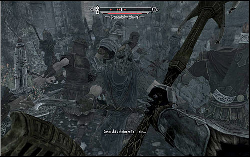 If you have followed my advice, at this point youll be forced to take care of a group of enemy soldiers gathered around the last barricade (the above screen) - Battle for Windhelm | Imperial Legion Quests - Imperial Legion Quests - The Elder Scrolls V: Skyrim Game Guide