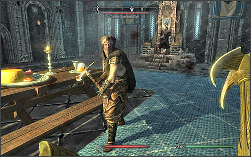I suggest attacking Ulfrics guard, Galmar Stone-Fist (the above screen), first - Battle for Windhelm | Imperial Legion Quests - Imperial Legion Quests - The Elder Scrolls V: Skyrim Game Guide