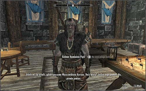 Continue talking to Galmar, asking him about the details of the next assignment (the above screen) - The Jagged Crown - p.1 | Stormcloak Rebellion Quests - Stormcloak Rebellion Quests - The Elder Scrolls V: Skyrim Game Guide
