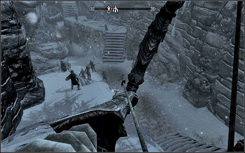 If your character prefers ranged combat, dont use the stairs at all but simply eliminate enemy soldiers from a distance (the above screen) - The Jagged Crown - p.1 | Stormcloak Rebellion Quests - Stormcloak Rebellion Quests - The Elder Scrolls V: Skyrim Game Guide