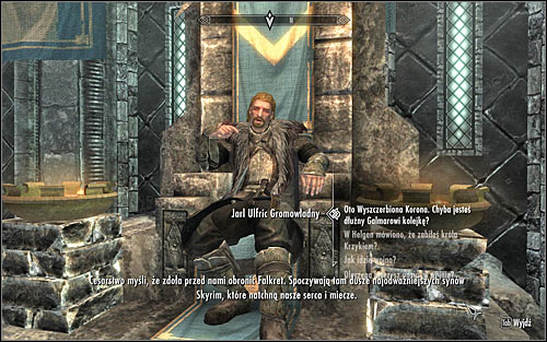 When you get to the Palace of the Kings, locate Ulfric Stormcloak and initiate dialogue to tell him that you have found the crown (the above screen) - The Jagged Crown - p.2 | Stormcloak Rebellion Quests - Stormcloak Rebellion Quests - The Elder Scrolls V: Skyrim Game Guide