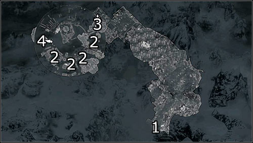 Labels on the map: 1 - starting point; 2 - cells with the Stormcloak soldiers; 3 - entrance to the roof; 4 - entrance to the main courtyard - Rescue from Neugrad - p.1 | Stormcloak Rebellion Quests - Stormcloak Rebellion Quests - The Elder Scrolls V: Skyrim Game Guide
