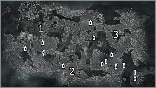Labels on the map: 1 - main fort entrance; 2 - south fort entrance (hard to get to); 3 - northeast fort entrance (hard to get to) - The Battle for Fort Sungard | Stormcloak Rebellion Quests - Stormcloak Rebellion Quests - The Elder Scrolls V: Skyrim Game Guide