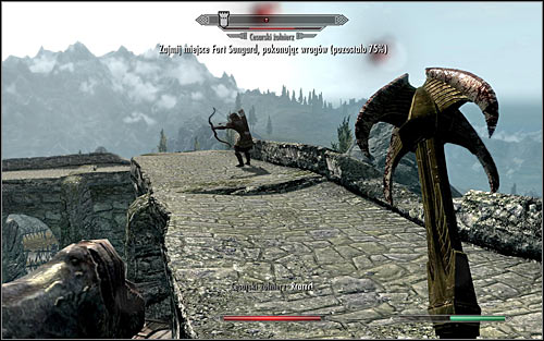 Dont forget about the archers occupying the surrounding walls and rooftops; try to get to them as quickly as you can (the above screen) - The Battle for Fort Sungard | Stormcloak Rebellion Quests - Stormcloak Rebellion Quests - The Elder Scrolls V: Skyrim Game Guide