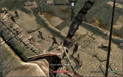 If your character prefers ranged combat, your first priority after you get inside the fort should be to use any stairs leading to the walls - The Battle for Fort Sungard | Stormcloak Rebellion Quests - Stormcloak Rebellion Quests - The Elder Scrolls V: Skyrim Game Guide