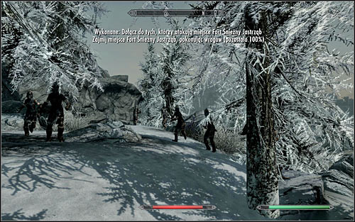 Luckily, you dont have to climb anywhere to get to your allies - Battle for Fort Snowhawk | Stormcloak Rebellion Quests - Stormcloak Rebellion Quests - The Elder Scrolls V: Skyrim Game Guide