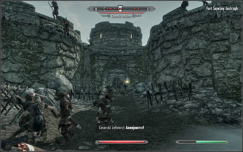 The fort is currently in ruins, so the game presents you with a couple of ways to get inside - Battle for Fort Snowhawk | Stormcloak Rebellion Quests - Stormcloak Rebellion Quests - The Elder Scrolls V: Skyrim Game Guide