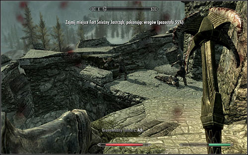 I dont recommend ignoring foes on the walls (the above screen) - Battle for Fort Snowhawk | Stormcloak Rebellion Quests - Stormcloak Rebellion Quests - The Elder Scrolls V: Skyrim Game Guide