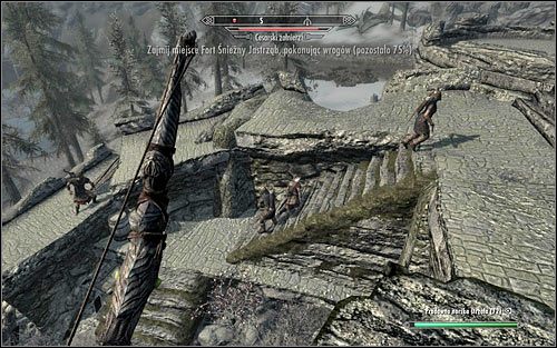 If youre planning to attack the Legionnaires from a safe distance, climb the walls as soon as you enter the fort - Battle for Fort Snowhawk | Stormcloak Rebellion Quests - Stormcloak Rebellion Quests - The Elder Scrolls V: Skyrim Game Guide