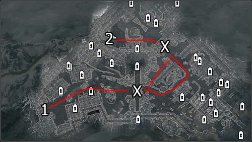 Labels on the map: red lines - available routes; 1 - starting point; 2 - Castle Dour entrance; X - barricades to break through - Battle for Solitude | Stormcloak Rebellion Quests - Stormcloak Rebellion Quests - The Elder Scrolls V: Skyrim Game Guide