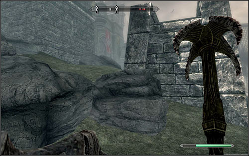 When you get past the barricade, you can decide whether you want to stay on the main road or climb the rocks to the left (the above screen) to take a shortcut - Battle for Solitude | Stormcloak Rebellion Quests - Stormcloak Rebellion Quests - The Elder Scrolls V: Skyrim Game Guide