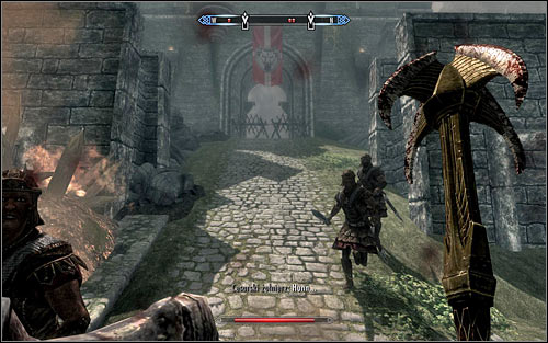 Turn northwest when you reach one the main streets of Solitude, and head toward the second barricace, set by the entrance to Castle Dour (the above screen) - Battle for Solitude | Stormcloak Rebellion Quests - Stormcloak Rebellion Quests - The Elder Scrolls V: Skyrim Game Guide