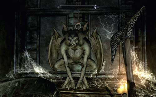 Head to its other side, go up the stairs and pull the chain above the gargoyle - Chasing Echoes - p. 2 - Dawnguard path - The Elder Scrolls V: Skyrim - Dawnguard - Game Guide and Walkthrough