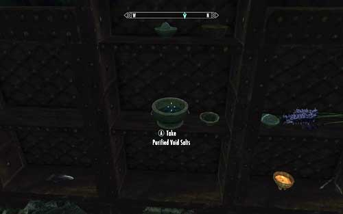 The Purified Void Salts has been hidden on a shelf in the upper part of the room - Chasing Echoes - p. 2 - Dawnguard path - The Elder Scrolls V: Skyrim - Dawnguard - Game Guide and Walkthrough