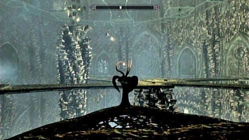 Inside the newly opened room, use the button and cross the corridor - Reach Miraak's Temple - Main story mode - At the Summit of Apocrypha - The Elder Scrolls V: Skyrim - Dragonborn - Game Guide and Walkthrough