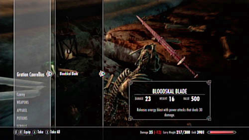 Gratian's Journal contains a hint - the magical sword (Bloodskal Blade) which you found by the remains seems to have peculiar properties - The Final Descent - Side missions - Raven Rock - The Elder Scrolls V: Skyrim - Dragonborn - Game Guide and Walkthrough