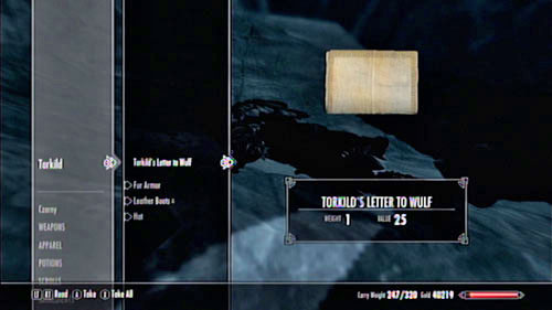 Take a look at the corpse and take the Letter to Wulf - Filial Bonds - Side missions - Skaal Village - The Elder Scrolls V: Skyrim - Dragonborn - Game Guide and Walkthrough