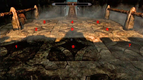 You need to go across the pressure plates in a given order marked above - Lost Legacy - Side missions - Skaal Village - The Elder Scrolls V: Skyrim - Dragonborn - Game Guide and Walkthrough