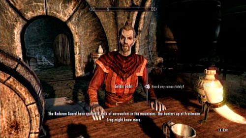 When you meet with Geldis Sadri at the Retching Netch in Raven Rock, ask him if he has heard any interesting gossip lately - Visit the hunters at Frostmoon Crag - Other missions - The Elder Scrolls V: Skyrim - Dragonborn - Game Guide and Walkthrough