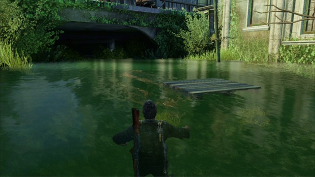 After The Cutscene Finishes Walk Into The Water And Keep Swimming Ahead Until You