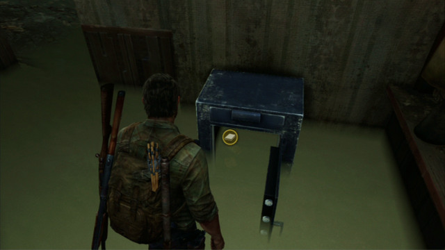 The safe is located downstairs in a small room, behind the counter - Hotel Lobby (text & maps) - Pittsburgh - The Last of Us - Game Guide and Walkthrough