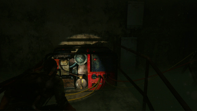 First, explore the area to the left and then keep to the right, until you see a red generator - Hotel Lobby (text & maps) - Pittsburgh - The Last of Us - Game Guide and Walkthrough