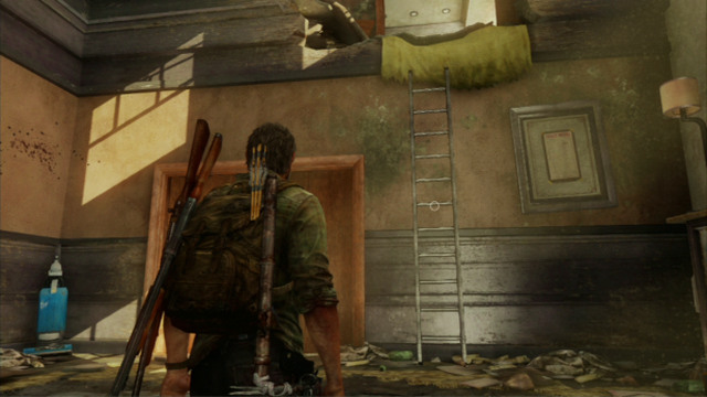 After you are saved by Ellie, climb the ladder again and go left - Hotel Lobby (text & maps) - Pittsburgh - The Last of Us - Game Guide and Walkthrough