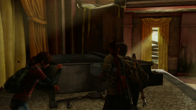 You need to move the instrument over to the nearest wall and climb over it - Hotel Lobby (text & maps) - Pittsburgh - The Last of Us - Game Guide and Walkthrough