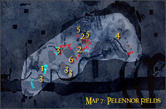 Map legend: 1 - starting area and first checkpoint - Campaign - Forces of good - Mission 6 - Pelennor Fields - Campaign - Forces of good - The Lord of the Rings: Conquest - Game Guide and Walkthrough