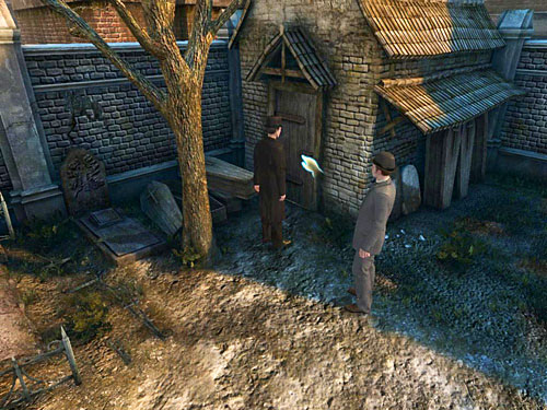 In this moment, men will notice that someone is in the gravediggers cottage - Visit Kurtz - Slaughter in Whitechapel - The Testament of Sherlock Holmes - Game Guide and Walkthrough