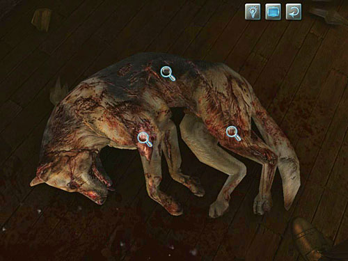 Similar wounds you find on the dog on right, but on his left side and two limbs - Visit Kurtz - Slaughter in Whitechapel - The Testament of Sherlock Holmes - Game Guide and Walkthrough