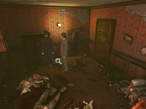 On the floor, opposite to the door, by the fallen chair, you see a tray - Visit Kurtz - Slaughter in Whitechapel - The Testament of Sherlock Holmes - Game Guide and Walkthrough