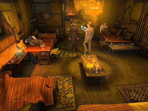 After talking to receptionist, go deeper inside, behind a red curtain - Get to the Closed Room - Slaughter in Whitechapel - The Testament of Sherlock Holmes - Game Guide and Walkthrough