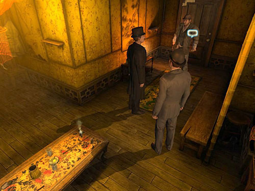 Notice a bodyguard standing on the right, who is guarding the closed door - Get to the Closed Room - Slaughter in Whitechapel - The Testament of Sherlock Holmes - Game Guide and Walkthrough