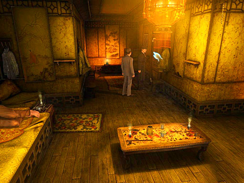 Go to the end of corridor and look at the last door on right, with a chinese writing over it (remember it) - Get to the Closed Room - Slaughter in Whitechapel - The Testament of Sherlock Holmes - Game Guide and Walkthrough