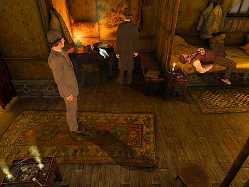 Return to the smoker room and pick up a glass of dirty water from a table on the left - Get to the Closed Room - Slaughter in Whitechapel - The Testament of Sherlock Holmes - Game Guide and Walkthrough