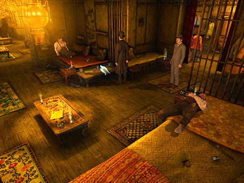 Go further inside and pick up ashtray with ashes from a table on the right (by a half-lying man) - Get to the Closed Room - Slaughter in Whitechapel - The Testament of Sherlock Holmes - Game Guide and Walkthrough