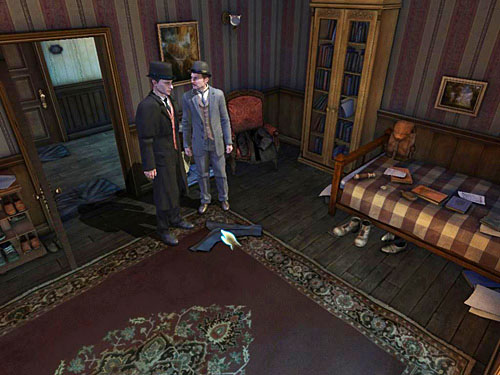 Open the first door on the left in corridor and go inside - Search a Henrys Room - Robbery in Kensington Gardens - The Testament of Sherlock Holmes - Game Guide and Walkthrough