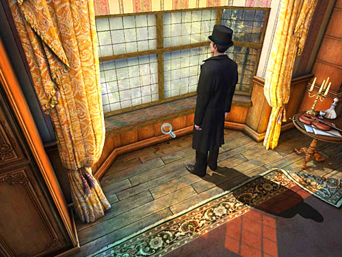 Pay your attention at a panelling below the window - Search a Henrys Room - Robbery in Kensington Gardens - The Testament of Sherlock Holmes - Game Guide and Walkthrough