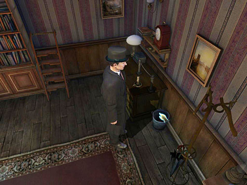 Search a bin by the desk, where you find a torn piece of paper - Search a Henrys Room - Robbery in Kensington Gardens - The Testament of Sherlock Holmes - Game Guide and Walkthrough