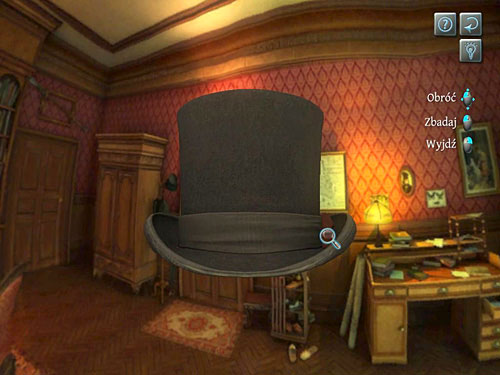 Looked at a ribbon on the right - Identify the Mysterious Visitor - O. Farleys Office - The Testament of Sherlock Holmes - Game Guide and Walkthrough