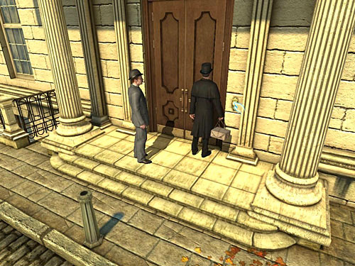 Approach door of judges residence and ring a bell: what ensures you, that there is no inside - Get to the Judges House - Explosion in Becketts Residence - The Testament of Sherlock Holmes - Game Guide and Walkthrough