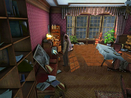 Return to living room, from where pick up trousers from a couch - Complete Three Disguises - Hideout in Whitechapel - The Testament of Sherlock Holmes - Game Guide and Walkthrough