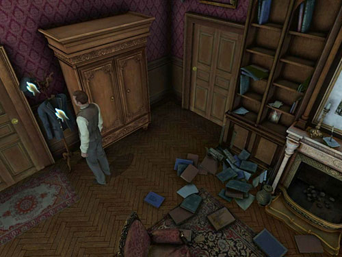 And from a hanger standing nearby door to Watsons bedroom, take another jacket and hat - Complete Three Disguises - Hideout in Whitechapel - The Testament of Sherlock Holmes - Game Guide and Walkthrough