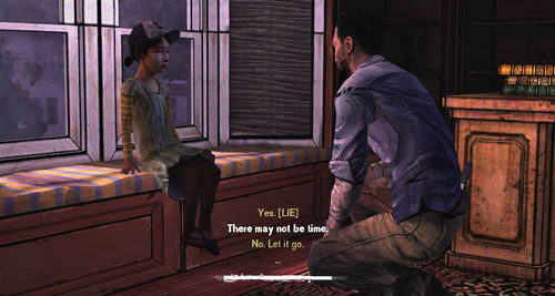 The last person to have a conversation with will be Clementine - Chapter 6: For Whom The Bell Tolls - Episode IV: Around Every Corner - The Walking Dead - Game Guide and Walkthrough