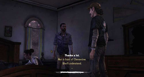 It does not matter which answer you will choose near the bed on which Omid is lying - Chapter 6: For Whom The Bell Tolls - Episode IV: Around Every Corner - The Walking Dead - Game Guide and Walkthrough