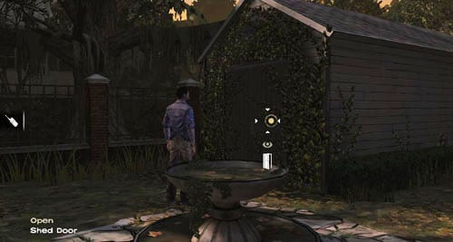 If you try to go back inside the house (Use: House Door), or walk about for a while, youll notice that the shed door has moved - Chapter 4: Bedside Manor - Episode IV: Around Every Corner - The Walking Dead - Game Guide and Walkthrough