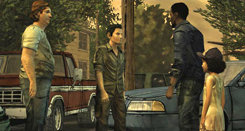 When the gate is open, you will be greeted by Chet and Shawn Greene - Chapter 3: In Your Charge - Episode I: A New Day - The Walking Dead - Game Guide and Walkthrough