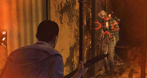 Get closer to the pair of zombies that are banging on the door - Chapter 5: Its Just One Bullet - The Motor Inn - Episode I: A New Day - The Walking Dead - Game Guide and Walkthrough
