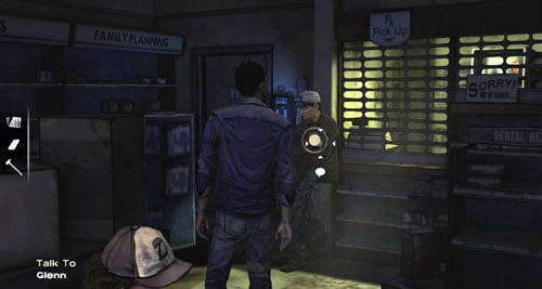 When you return to the pharmacy, you can finally talk to Glenn - Chapter 5: Its Just One Bullet - The Motor Inn - Episode I: A New Day - The Walking Dead - Game Guide and Walkthrough